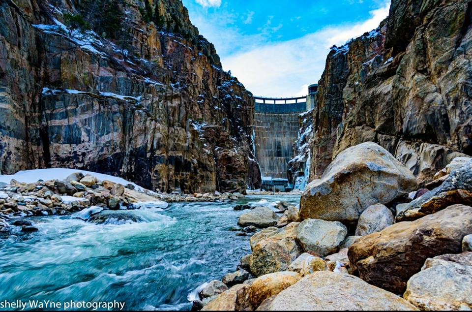 """""""The Bill Cody Dam in Cody, WY holds back runoff from Yellowstone as it comes down the Shoshone River. This water is primarily used for irrigation. When this dam was constructed it was the tallest dam in the world."""" -Shelly Wayne"""